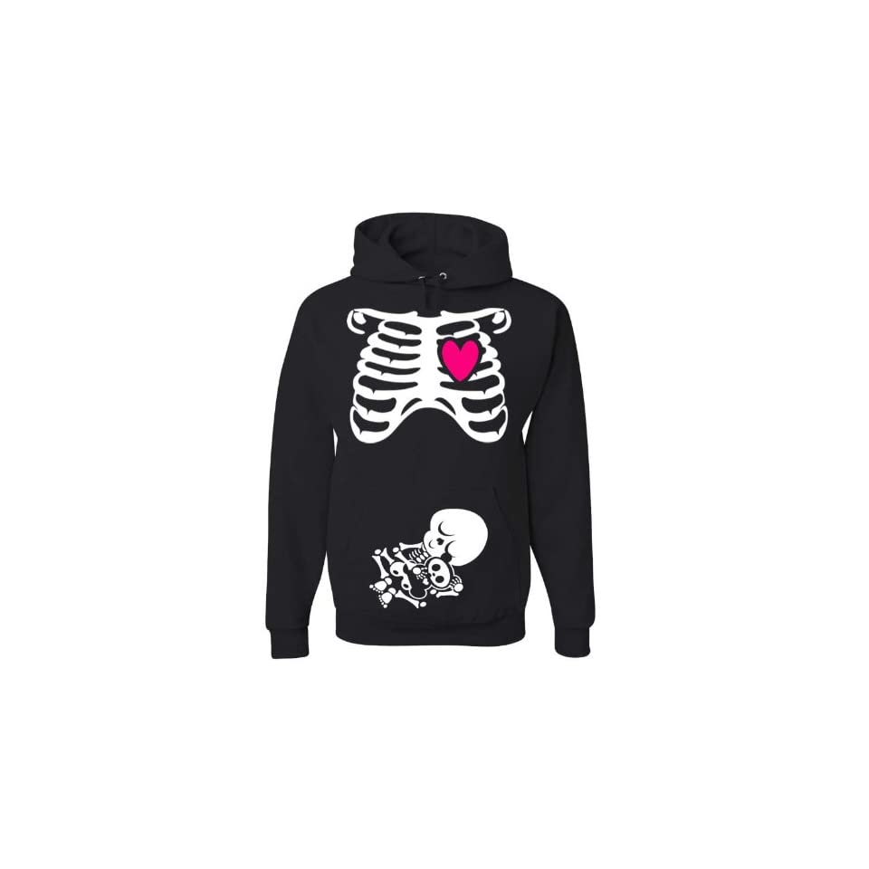 Halloween NON Maternity Pullover Hoodie Costume   Pregnant Skeleton X Ray   Rib Cage and Baby   Funny Baby Shower Gift (Medium)
