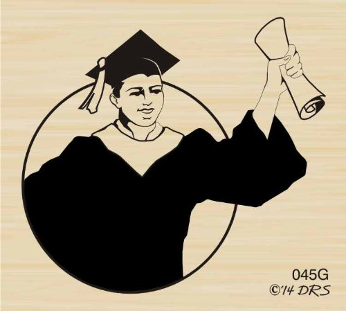 Male Graduate Rubber Stamp By DRS Designs