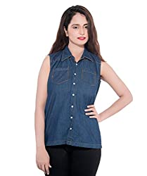 D-Nimes Women's Denim Sleeveless Shirt