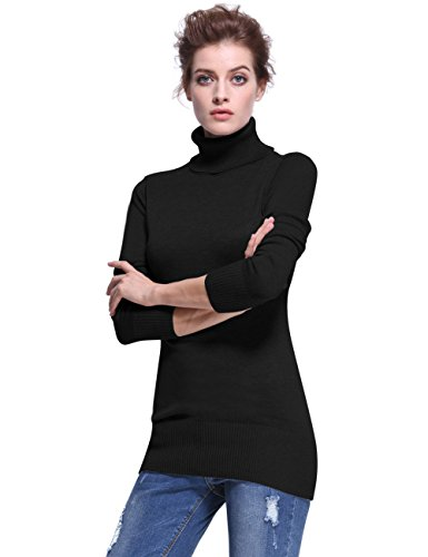 PrettyGuide Women Turtleneck Ribbed Trim Long Sleeve Tunic Sweater Top Black M