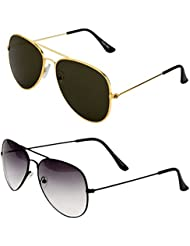 Younky Unisex Combo Pack Of Aviator Sunglasses For Men And Women ( Black-shd-black-golden Black ) (CM-NEW-AV-026 )
