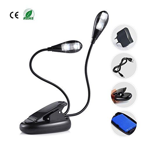 Ledgle LED lettura notturna, Luce del Libro Doppia lampada Low Energy / batteria ricaricabile e cavo di ricarica USB Incluso