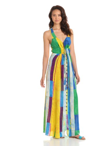 Plenty by Tracy Reese Women's Cubist Watercolor Maxi Slip Dress, Multi-Colored, Small