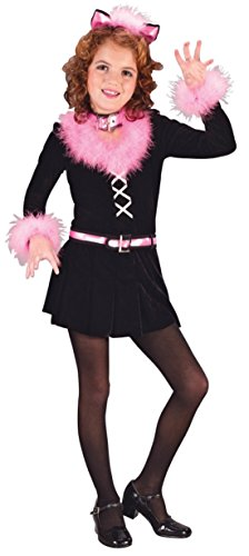 Girls Marabou Cat Kids Child Fancy Dress Party Halloween Costume