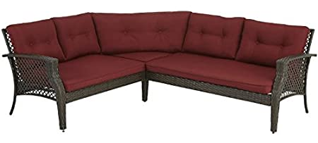 Palermo 3pc Outdoor Patio Furniture Sectional (Red)