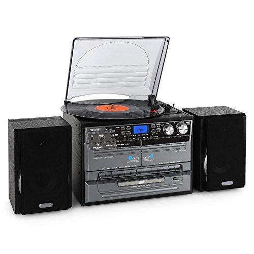 auna MG-TC Impianto Stereo HiFi multifunzione (radio FM, lettore CD, giradischi, mangianastri, lettore MP3, ingressi USB e SD) - nero