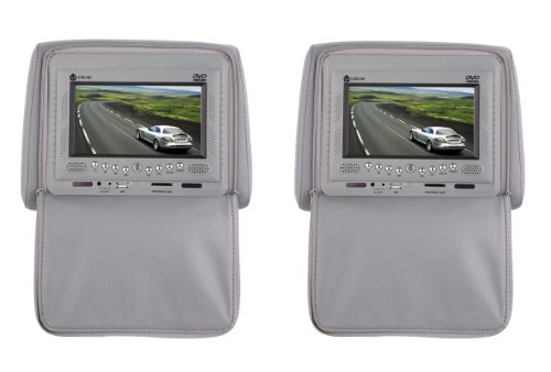 "Esky Headrest 7"" Lcd Car Monitors With Region Free Dvd Player Usb Wireless Headhones And 32 Bit Games - A Pair (Gray)"