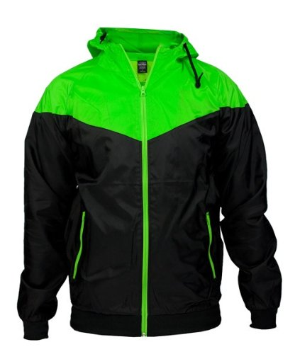 Urban Classics TB148 Arrow Wind Runner Giacca a Vento Uomo Regular fit Black Lime Green