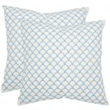 Safavieh Pillows Collection Nikki Decorative Pillow, 18-Inch, Blue, Set of 2