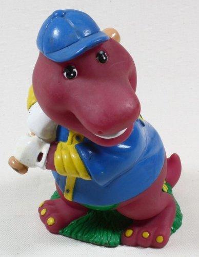 Barney Purple Dinosaur Baseball Player Plastic Coin Bank 1992 Collectible front-202578