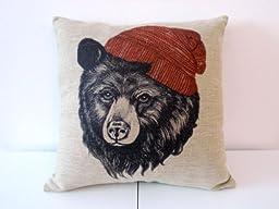 Decorbox Cotton Linen Square Throw Pillow Case Decorative Cushion Cover Pillowcase for Sofa Animal Black Bear Wear Hat 18 \