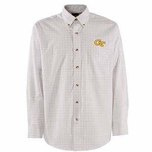 Georgia Tech Esteem Button Down Dress Shirt (White) by Antigua