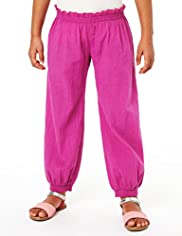 Pure Cotton Frilled Harem Trousers