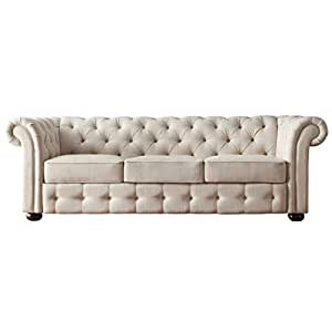 Classic Scroll Arm Button Tufted Chesterfield