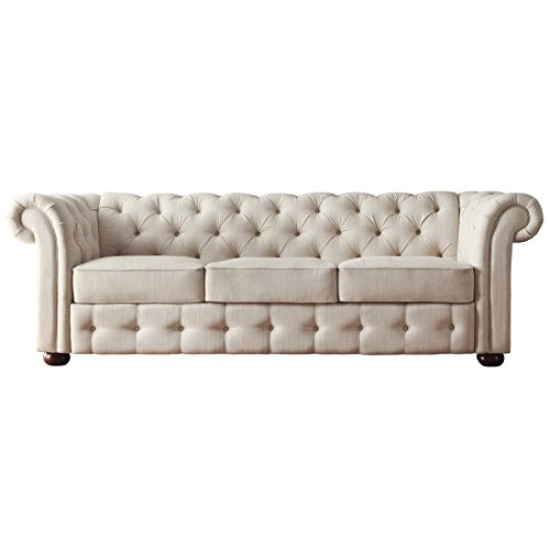 Classic Scroll Arm Button Tufted Chesterfield Style Beige Sofa