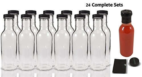 Wide Mouth Empty Sauce Bottles 12oz - Complete Set of Bottles with Shrink Sleeve, Bottles, and Lids (24) (Hot Sauce Bottles Empty 12 Oz compare prices)