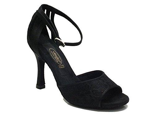 Scarpa da donna per ballo tango in macramè nero (Taglia 36)