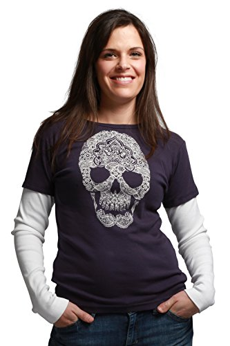 Green 3 Apparel Layered Look Skull Organic Made In Usa Tee (S, Aubergine) front-151456