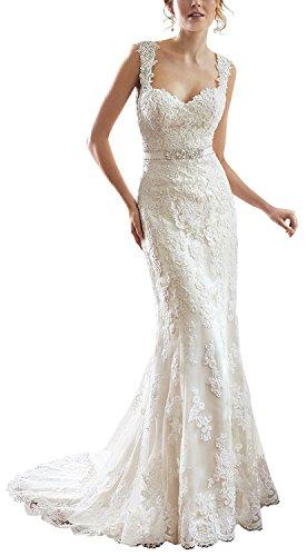 e9c0ed64e01 TSRJ Women s Sweetheart Satin Lace V-back Bow Sash Sweep Train Wedding  Bridal Gown Ivory US4