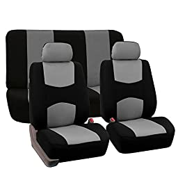 FH-FB050112 Flat Cloth Car Seat Covers Gray / Black Color