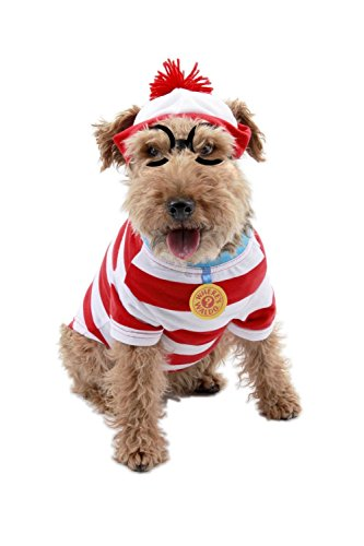 [Woof Where's Waldo Red White Striped Halloween Christmas Party Pet Dog Cat Costume w/Glasses (M)] (Cop And Inmate Couple Costumes)