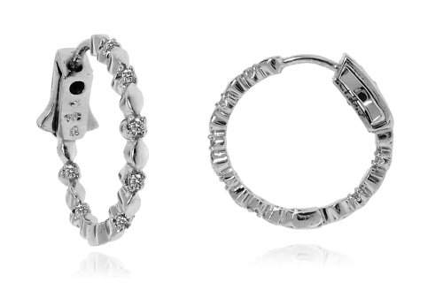Sterling Silver 925 Genuine Diamond Accents 0.14cts (Color H-I, Clarity I3) Round Hoop Earrings - 22mm