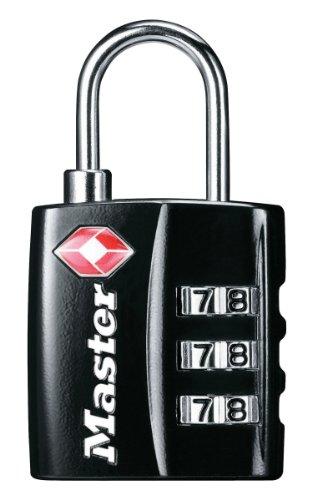 Master Lock 4680EURDBLK Lucchetto TSA, Cavo Flessibile, Combinazione Programmabile a 3 Cifre, Nero, 30 mm