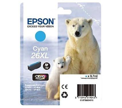 EPSON Cartouche d'encre Ours Polaire 26 XL - cyan - jusqu'à 700 pages (C13T26324010)