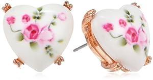 "Betsey Johnson ""Vintage Bows"" Floral Printed Heart Stud Earrings"