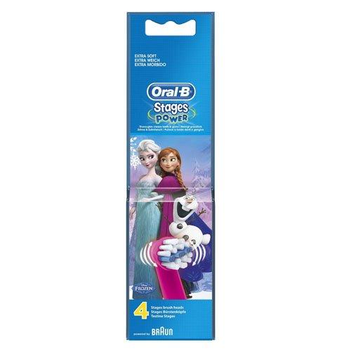 Oral-B, Stages Power, Testine di ricambio per spazzolino elettrico per bambini, 4 pz.