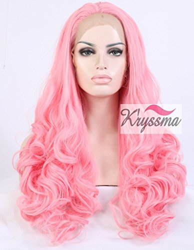 K'ryssma Cute Pink Wavy Wigs for Girls Long Synthetic Hair Best Lace Front Wigs Half Hand Tied Heat OK 24 inches for Christmas