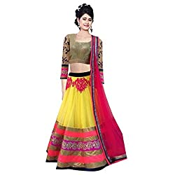 Aagaman Fashion Net Lehenga Cholis (TSWT104_Yellow)