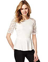 Short Sleeve Lace Trim Peplum Top with Stay New™