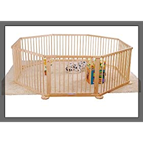 Baby Kids Wooden Playpen Room Divider 8 Panel