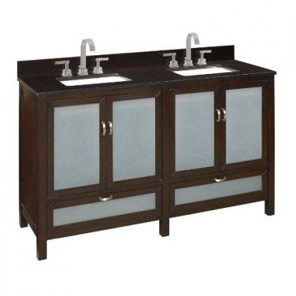 Belle Foret BF80024R Double Basin Vanity Bathroom Sink Espresso 60