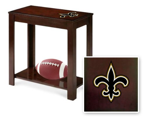 New Cappuccino / Espresso Finish End Table featuring New Orleans Saints NFL Team Logo at Amazon.com
