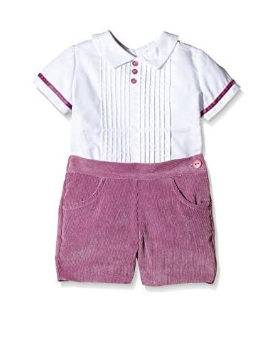 Elisa Menuts Conjunto Camisa + Bermuda Blanco / Lila