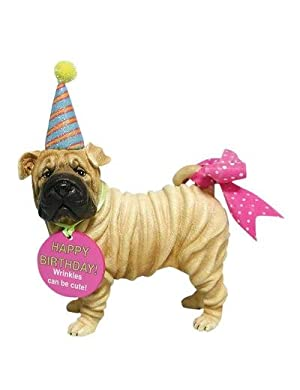 Happy Birthday Shar Pei Figurine