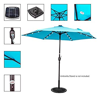 Sundale Outdoor 9ft 24 Led Light Outdoor Market Patio Umbrella Garden Pool with Crank, 6 Ribs (Light Blue)