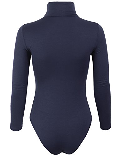 BOHENY Womens Turtleneck Bodysuit with Snap Button Closure-M-NAVY