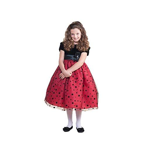 Crayon Kids Little Girls Red Black Polka Dots Christmas Dress 4T