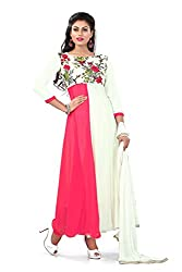 Siya Fashion women's Georgette Party Wear Unstitched Dress Material(si203_pink And White color)