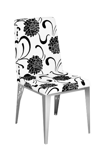 Premier Housewares Dining Chair with White and Black Flower Design and Leather Effect