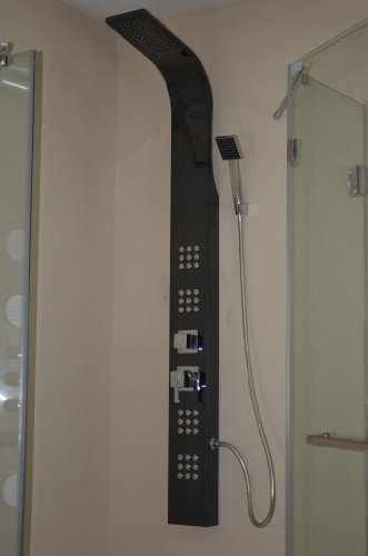 Golden Vantage Black Mirror Stainless Steel Shower Panel Body Spa System with hand spray GV-8855