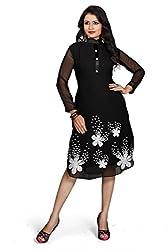 Kavvya Fashion Black Georgette Embroidered Kurtis