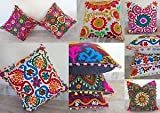 HANDICRAFTOFPINKCITY Indian Suzani Embroidered Cushion Cover Pillow Case 5 pcs Lot