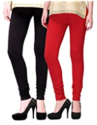 2Day Women's Cotton Churidaar Legging Black/Red (Pack Of 2)