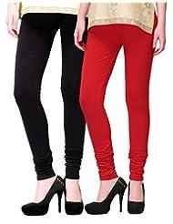 2Day Women's Cotton Churidaar Legging Black/Red (Pack Of 2)