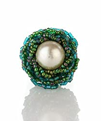 Trinketbag Green Pearly plateau ring for women