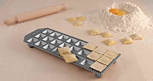Eppicotispai 24-Hole Aluminum Square Ravioli Maker with Rolling Pin by Eppicotispai